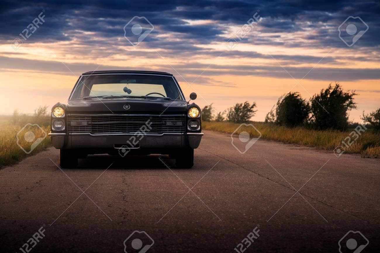 Engels Russia June 08 2018 Black Retro Vintage Muscle Car