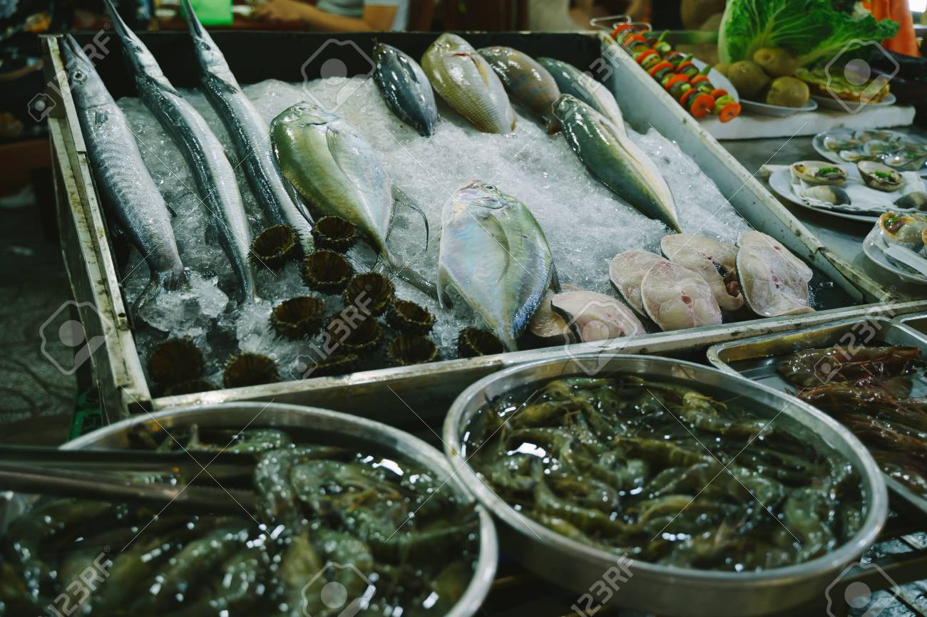 Fresh seafood for sale at Phu Quoc Night Market in Vietnam