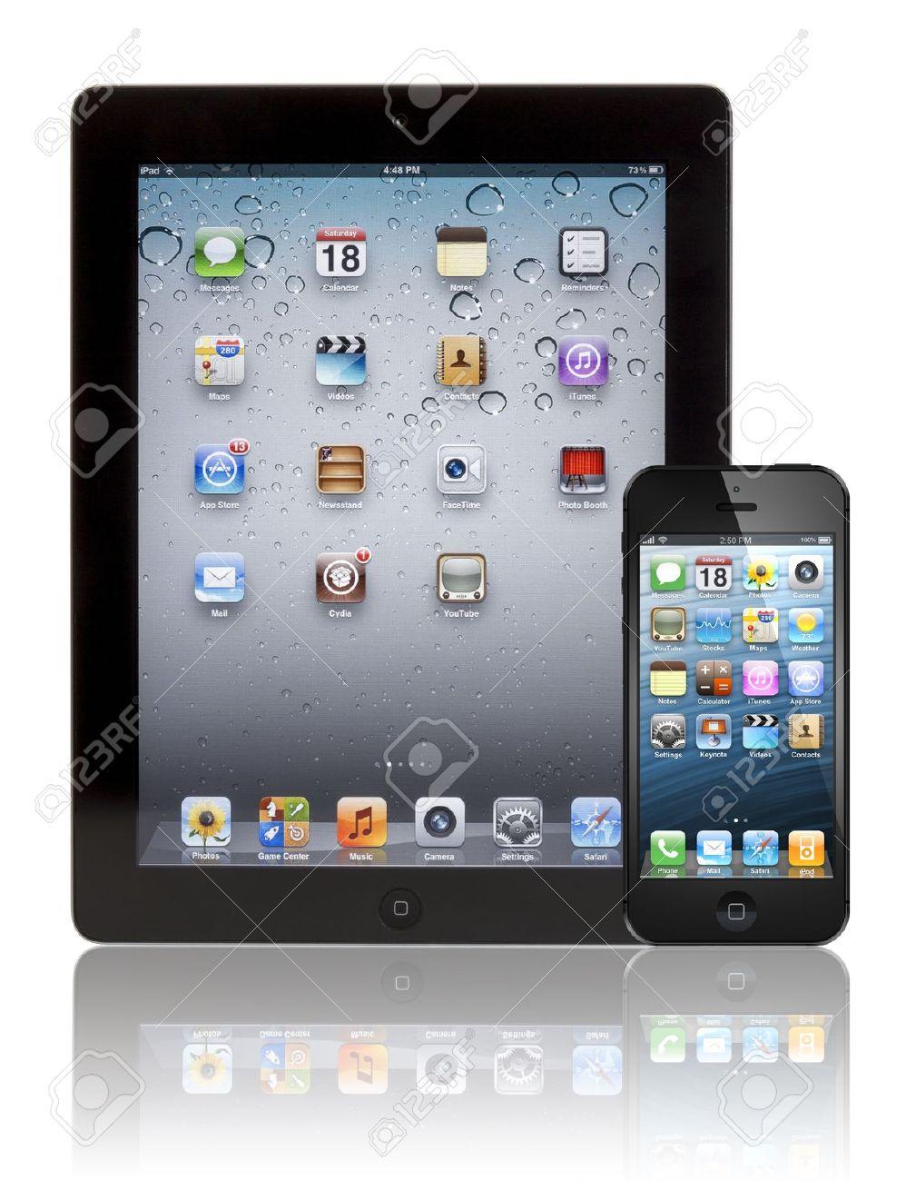 黒のアップル Iphone 5 黒アップルのアプリ 3 タブレットの前に 両方