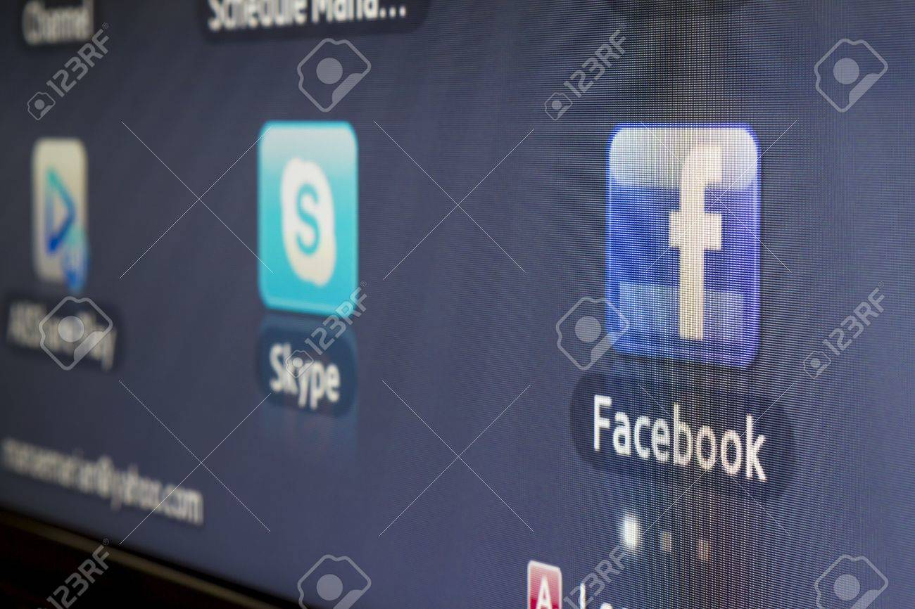 Galati, Romania - Januarie 16, 2013: Close-up of Facebook for Samsung Internet TV makes it`s easy to stay connected and share information with friends from your TV. Stock Photo - 17838538