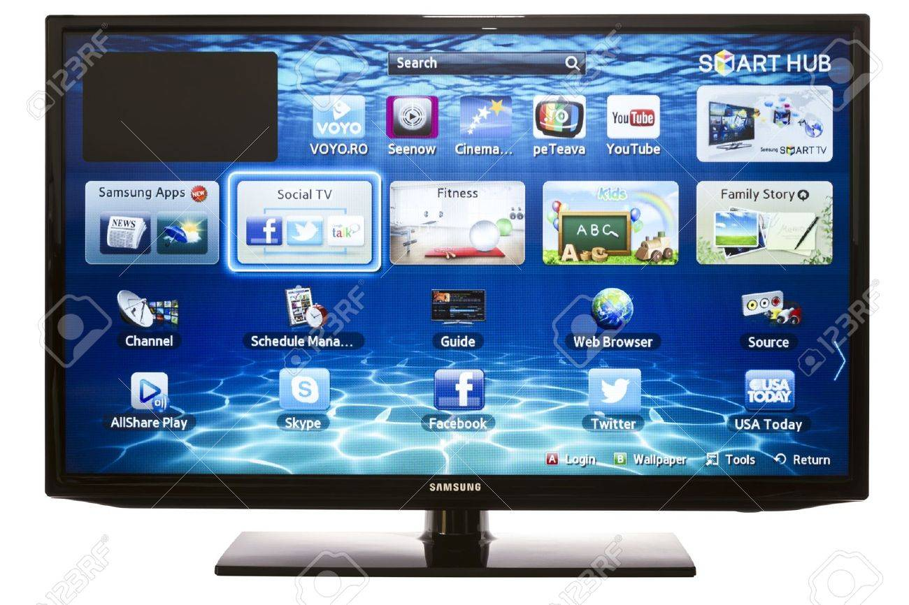 Galati, Romania - January 16, 2013: Smart TV with Samsung Apps and Web Browser. Experience the next generation of our groundbreaking Smart TVs, with full web browsers, all-new content services and much more - 18111968