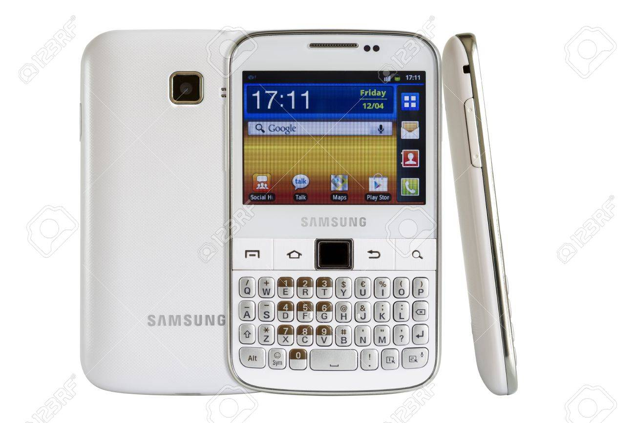 Galati, Romania - April 25, 2013: The Samsung Galaxy Y Pro B5510 is a Android smartphone with full QWERTY keyboard candybar.  Stock Photo - 19388674