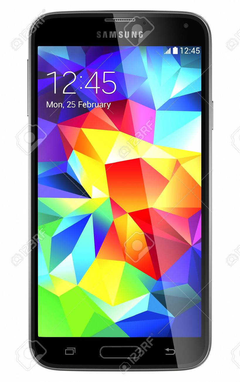Galati, Romania - May 19, 2014: Samsung Galaxy S5 is the newest smart phone from Samsung and support 5.1 inches Multi-touch extream high resolution display (1080 x 1920 pixels) and Android OS. Device shows the lock screen. Isolated on white. - 28435496