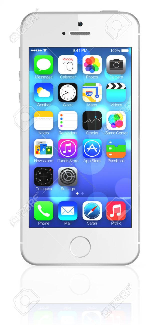 New Apple Silver IPhone 5s Showing The Home Screen With IOS7 Some Of