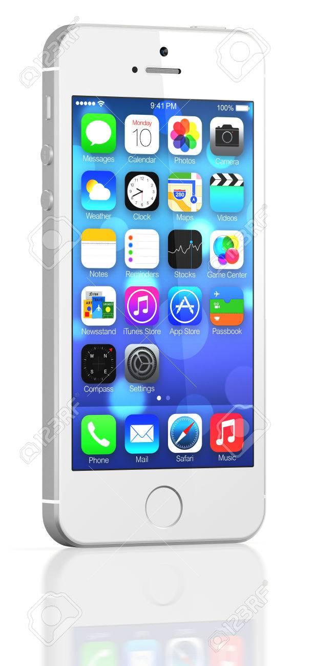 Silber Iphone 5s Die Die Home Bildschirm Mit Ios7 Einige Der