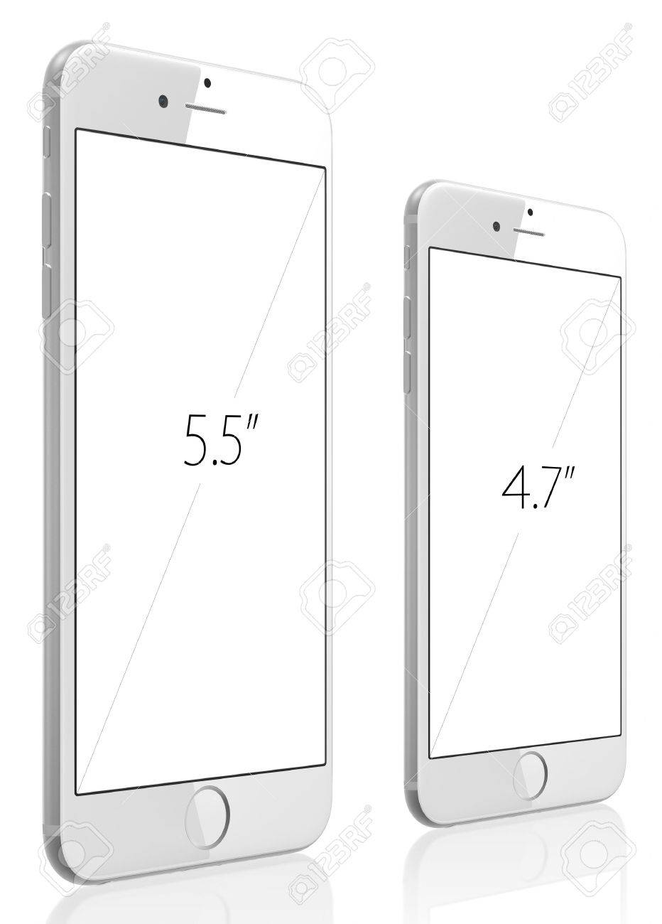 Apple Silver iPhone 6 Plus and iPhone 6 witn blank screen The