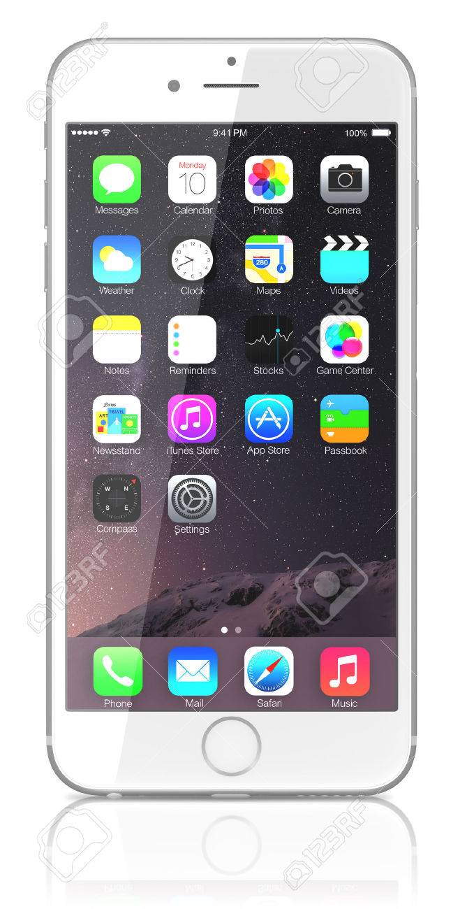 Apple Silver iPhone 6 Plus showing the home screen with iOS 8.The new iPhone with higher-resolution 4.7 and 5.5-inch screens, improved cameras, new sensors, a dedicated NFC chip for mobile payments. Apple released the iPhone 6 and iPhone 6 Plus on Septemb - 31750029