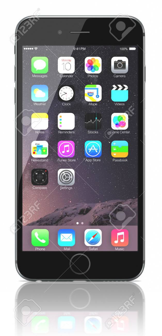 Space Gray iPhone 6 Plus showing the home screen with iOS 8.The new iPhone with higher-resolution 4.7 and 5.5-inch screens, improved cameras, new sensors, a dedicated NFC chip for mobile payments. Apple released the iPhone 6 and iPhone 6 Plus on September - 31750035