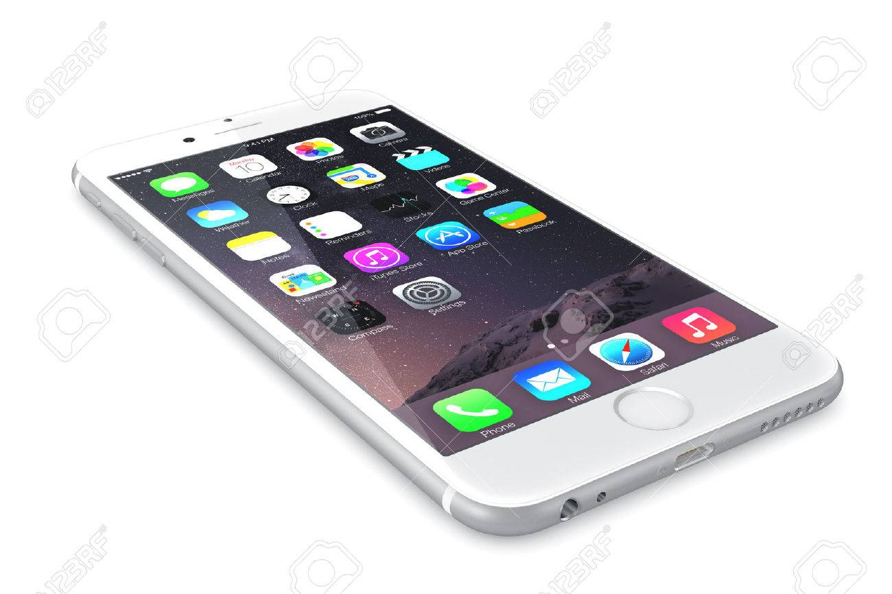 Apple Silver iPhone 6 Plus showing the home screen with iOS 8.The new iPhone with higher-resolution 4.7 and 5.5-inch screens, improved cameras, new sensors, a dedicated NFC chip for mobile payments. Apple released the iPhone 6 and iPhone 6 Plus on Septemb - 31791927