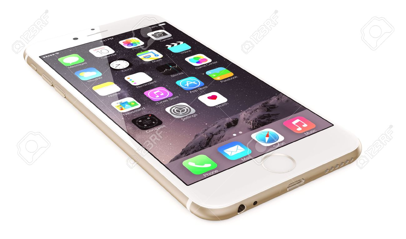 Apple Gold iPhone 6 Plus showing the home screen with iOS 8 The