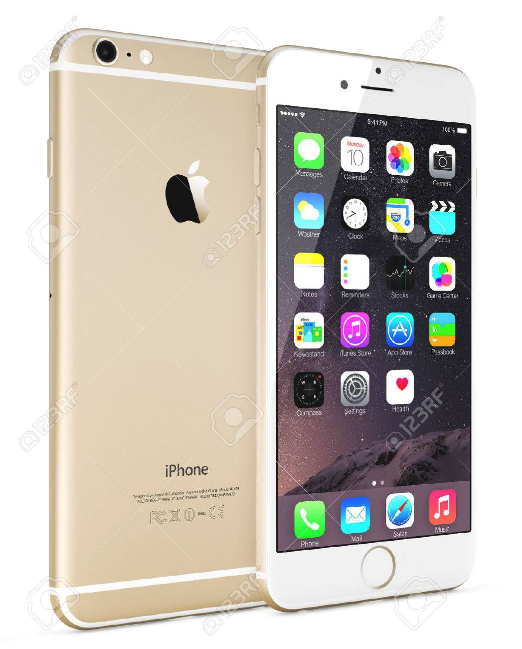 Galati, Romania - September 18, 2014: Apple Gold iPhone 6 Plus showing the home screen with iOS 8.The new iPhone with higher-resolution 4.7 and 5.5-inch screens, improved cameras, new sensors, a dedicated NFC chip for mobile payments. Apple released the i - 32031103