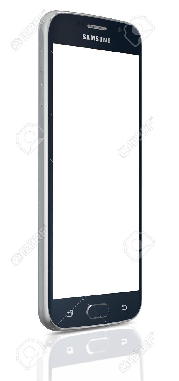 Black Sapphire Samsung Galaxy S6 Avec écran Blanc Sur Fond Blanc Le Téléphone Est Pris En Charge Avec 51 écran Tactile Et 1440 X 2560 Pixels De