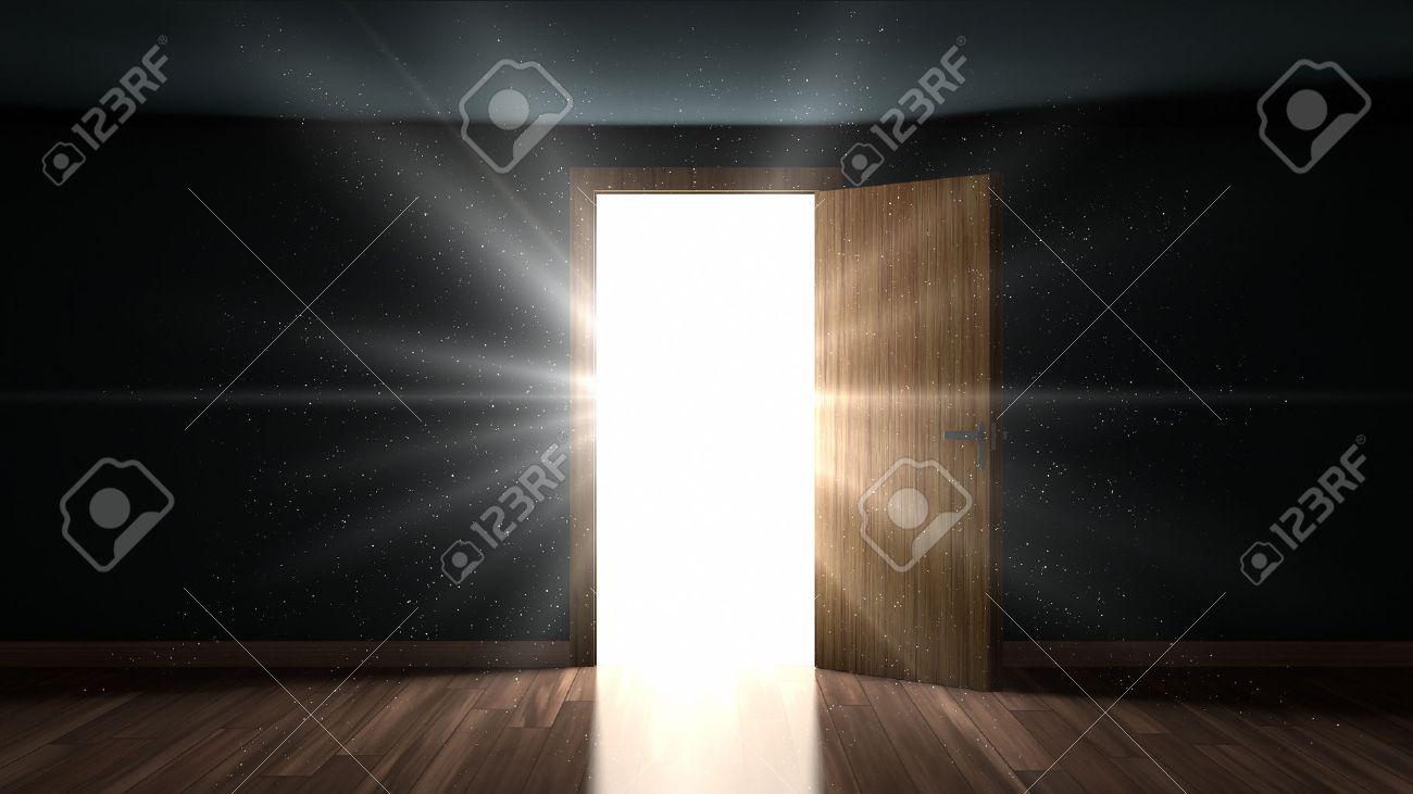 Dark room with light through door - Light And Particles In A Dark Room Through The Opening Door Stock Photo 53285081
