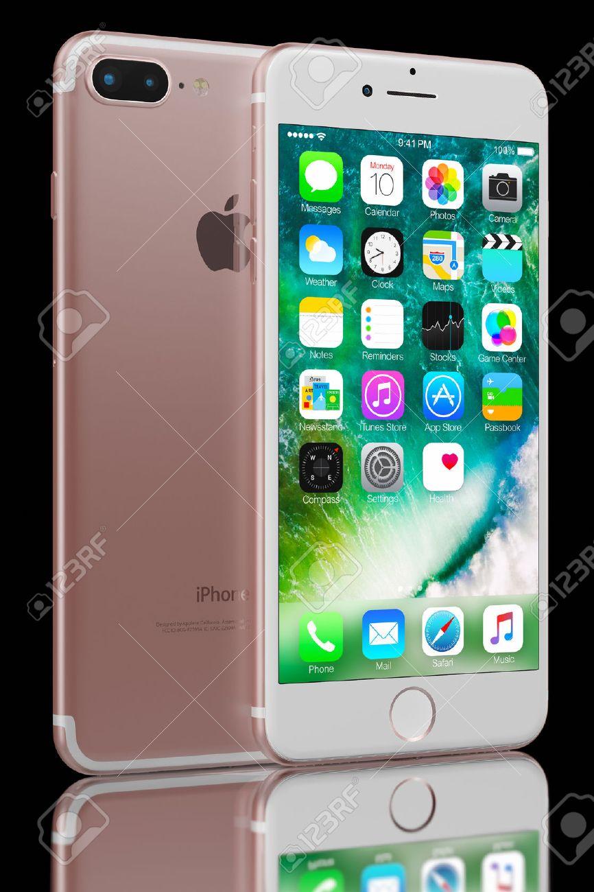Immagini Stock Rendering 3d Di Oro Rosa Iphone 7 Plus Su Sfondo