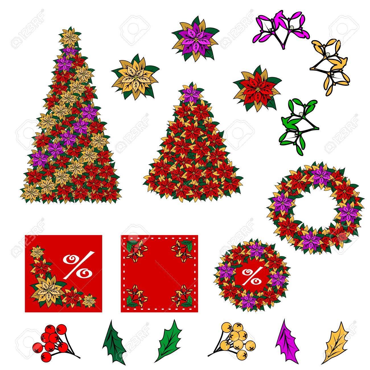 Disegni Di Natale Vettoriali.Raccolta Di Immagini Di Natale Disegni Di Natale E Possibile Creare Il Proprio Biglietto Di Natale Dei Componenti Aggiunti Stella Fiore Di Natale