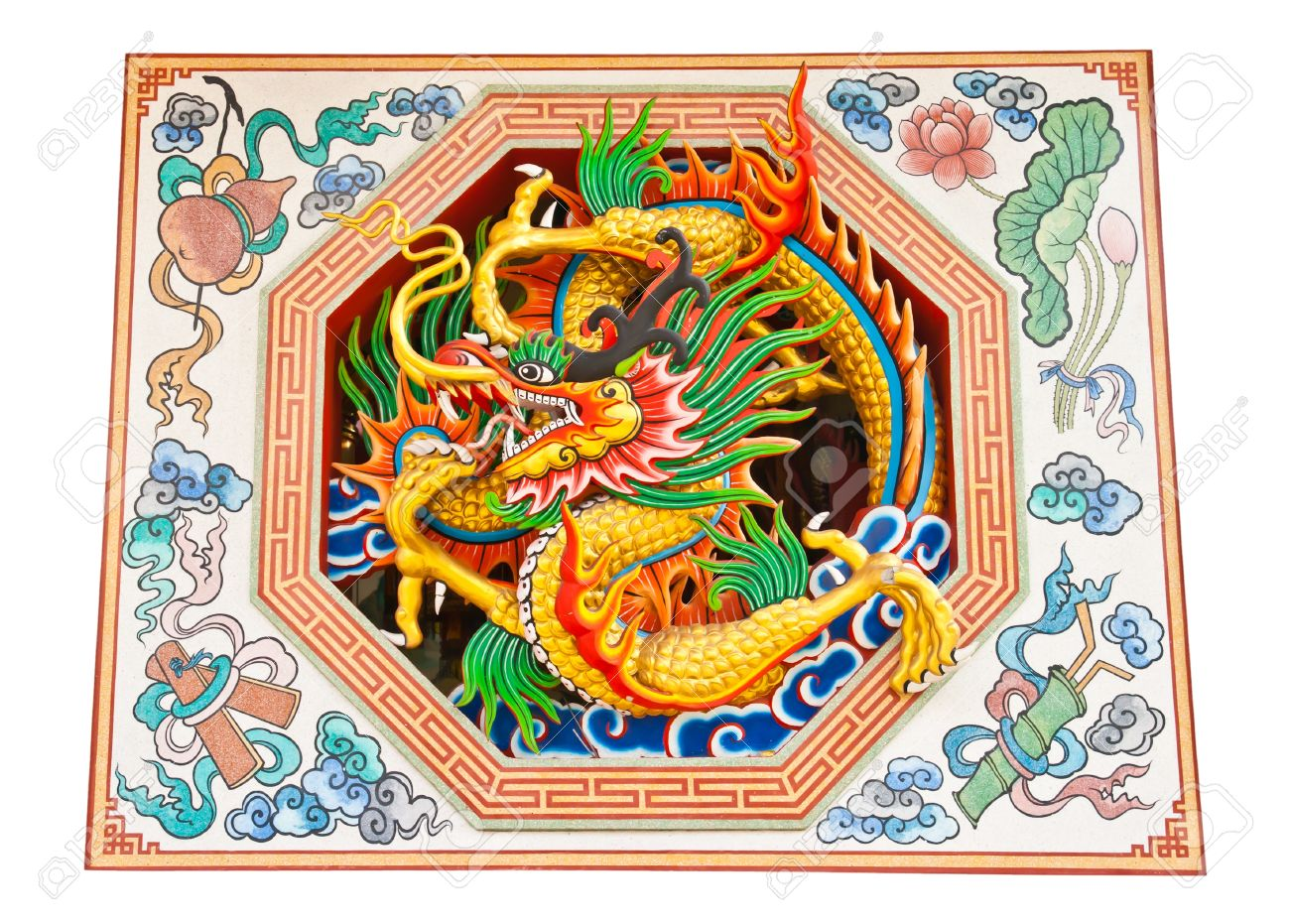 oriental design of an ancient chinese dragon on a temple wall