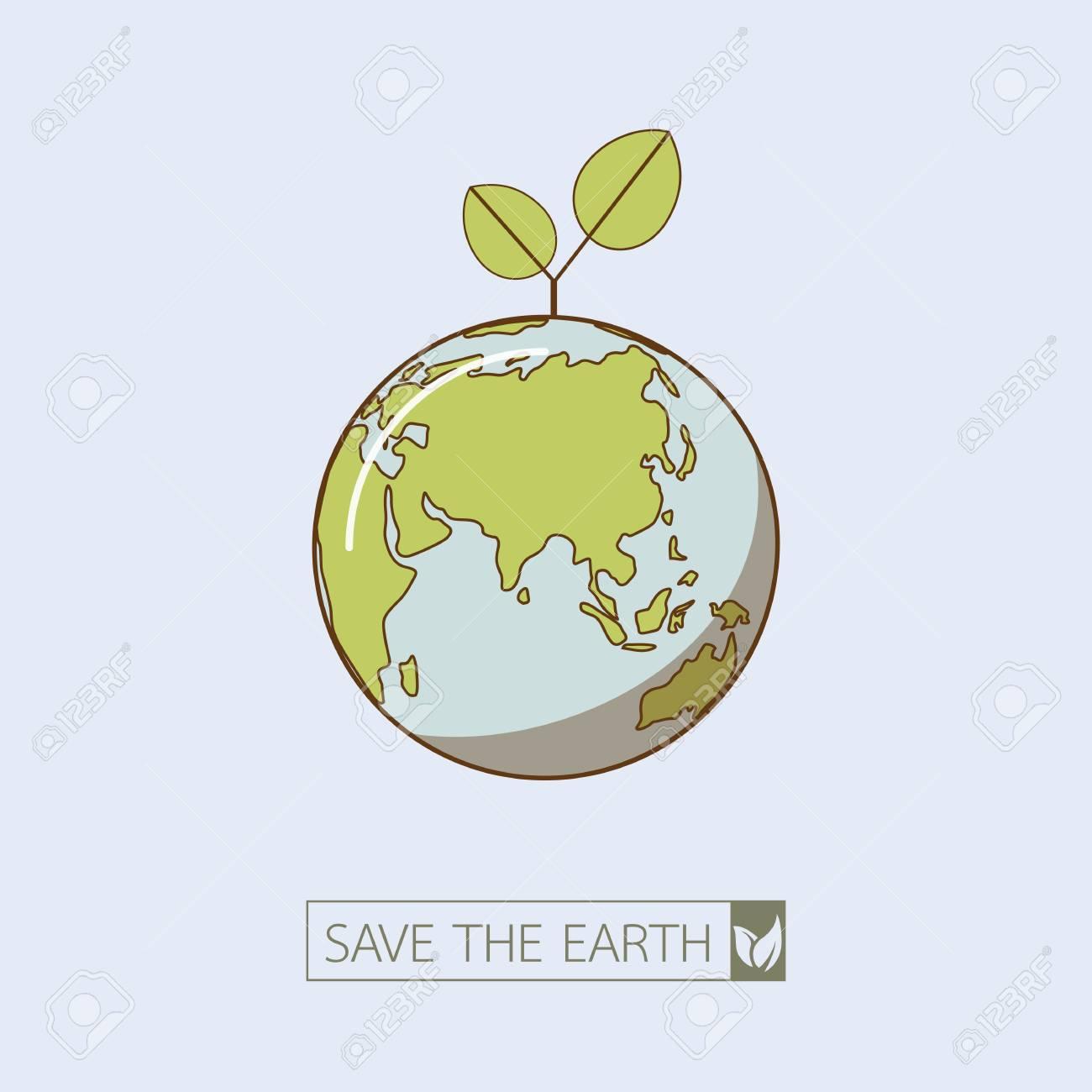 地球のレトロなスタイル。緑のエ...