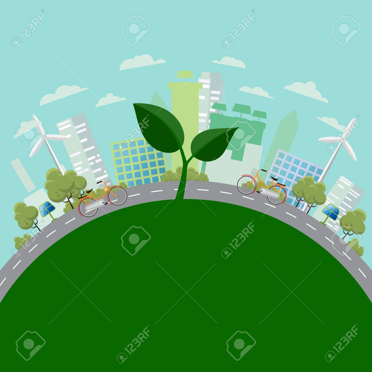 Eco Green City Save The World And Environment Concept Urban Landscape