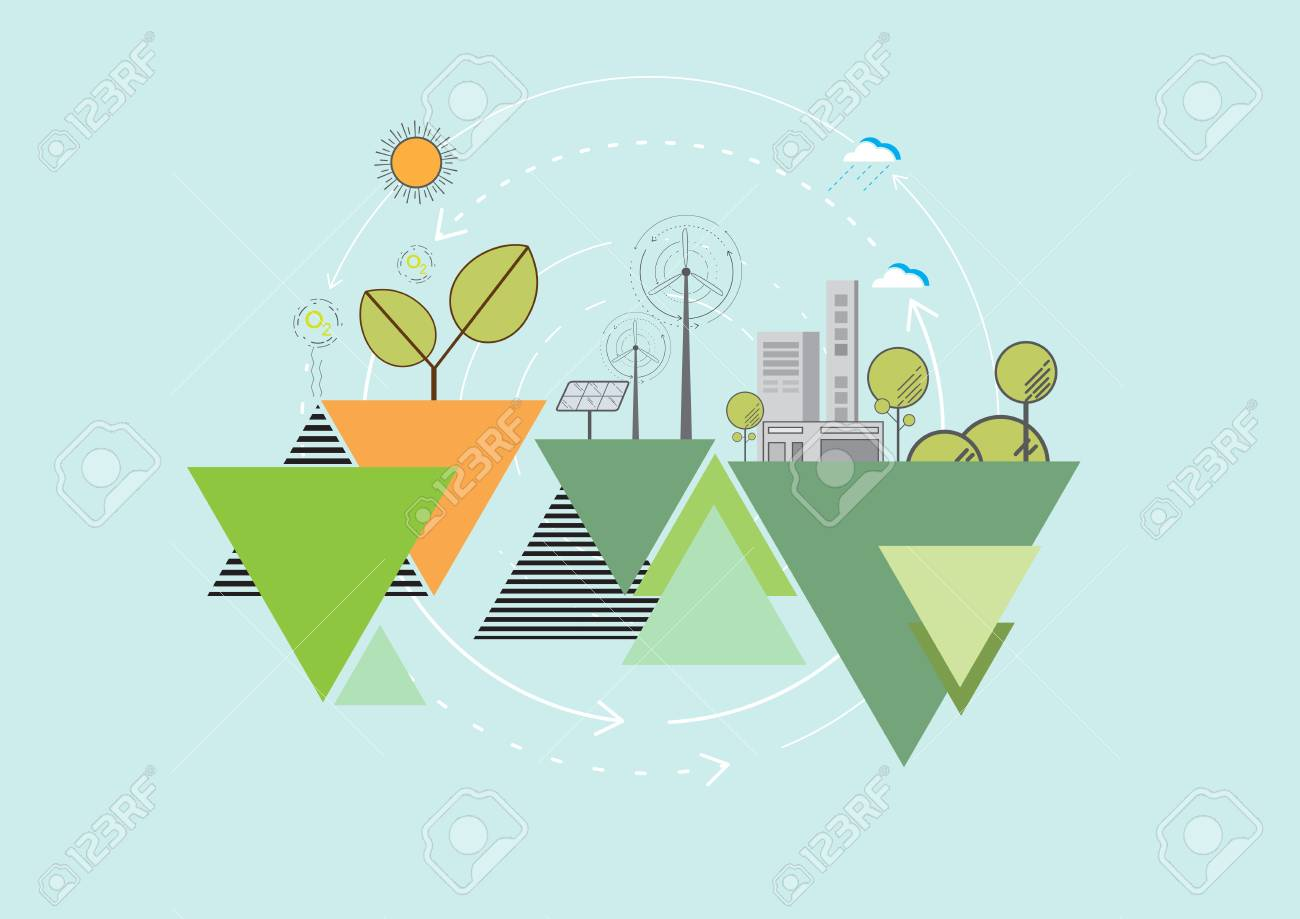 Eco And Nature ConceptGeometric Flat Line Poster Background Design With Simple Shapes