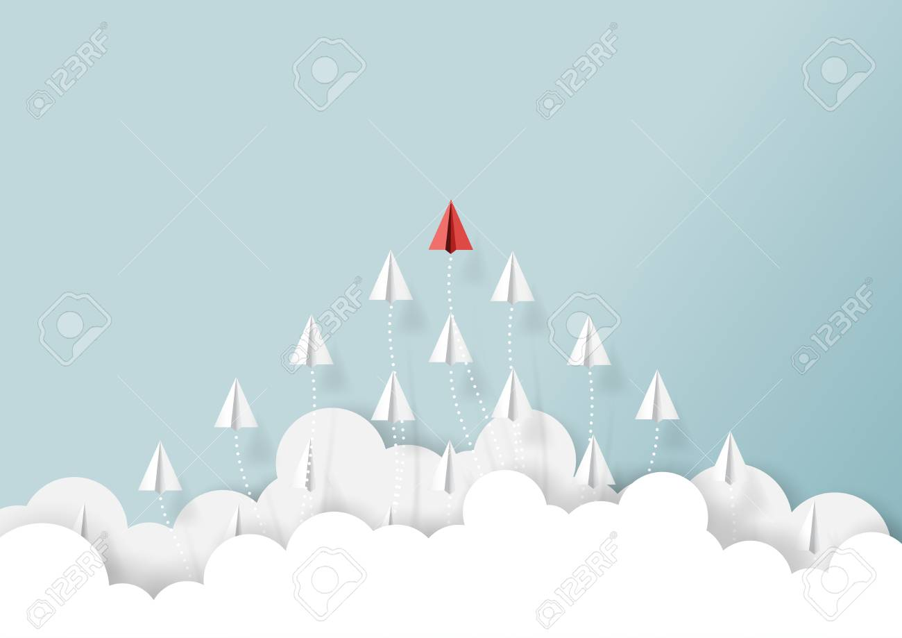 Paper airplanes flying from clouds on blue sky.Paper art style of business teamwork creative concept idea. - 92763612