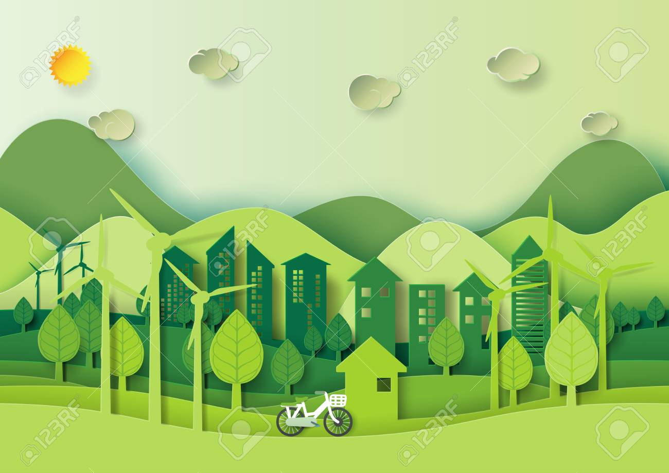 Save The World And Environment Concept Eco Green City And Urban
