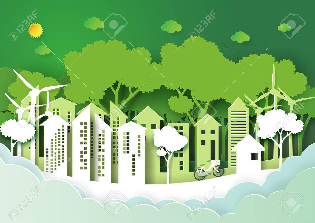 eco green urban city and nature forest background template save