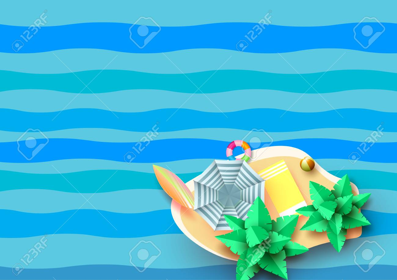 Summer Concept With Aerial View Of Beach And Island On Blue Wave