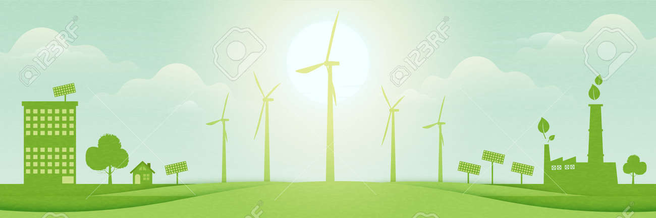 Green eco city on nature landscape background.Sustainable energy for Environment and Ecology concept.Vector illustration. - 170289330