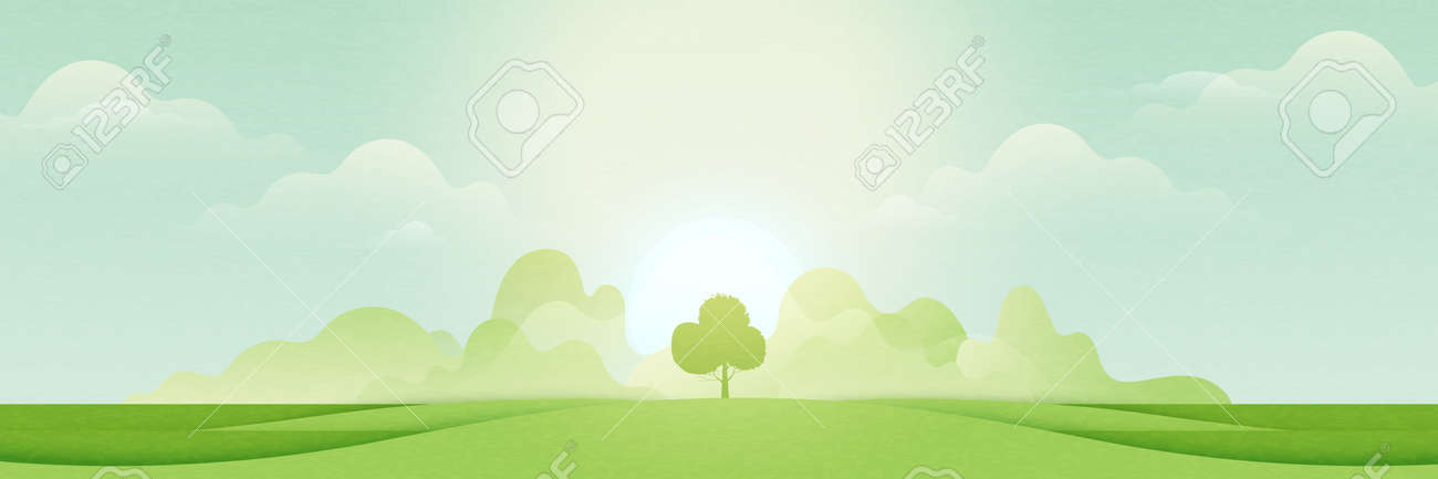 Landscape view of green meadows and mountains in sunny day.Flat panorama of spring summer beautiful nature forest scenic on horizon background.Vector illustration. - 170971024