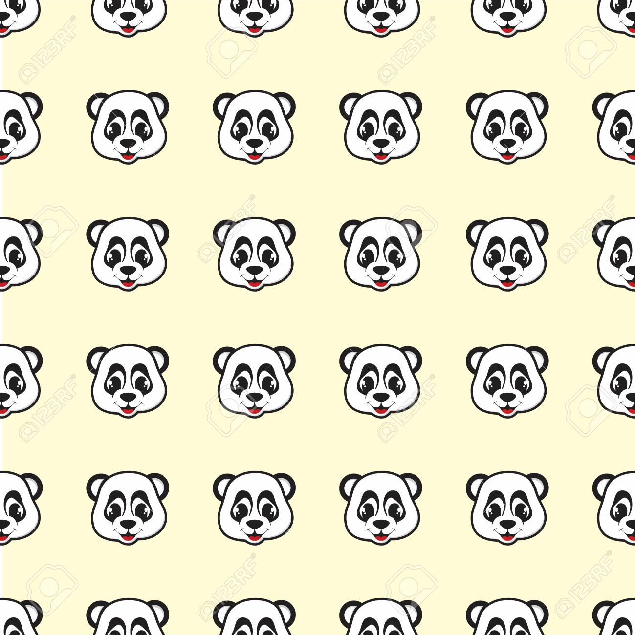 Funny design smile Panda cartoon seamless pattern for background and wallpaper. Animal wildlife vector background