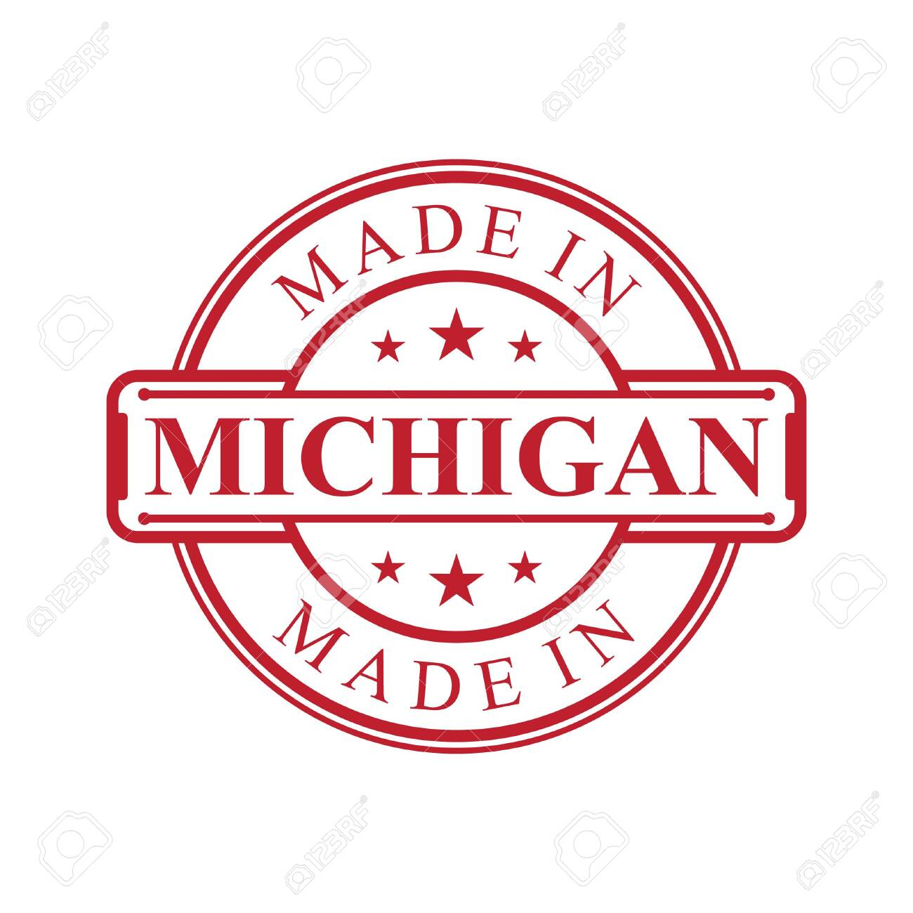 Made In Michigan >> Made In Michigan Label Icon With Red Color Emblem On The White