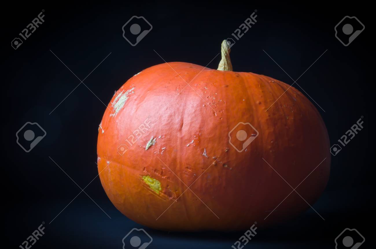 Pumpkin on black background Stock Photo - 17914345