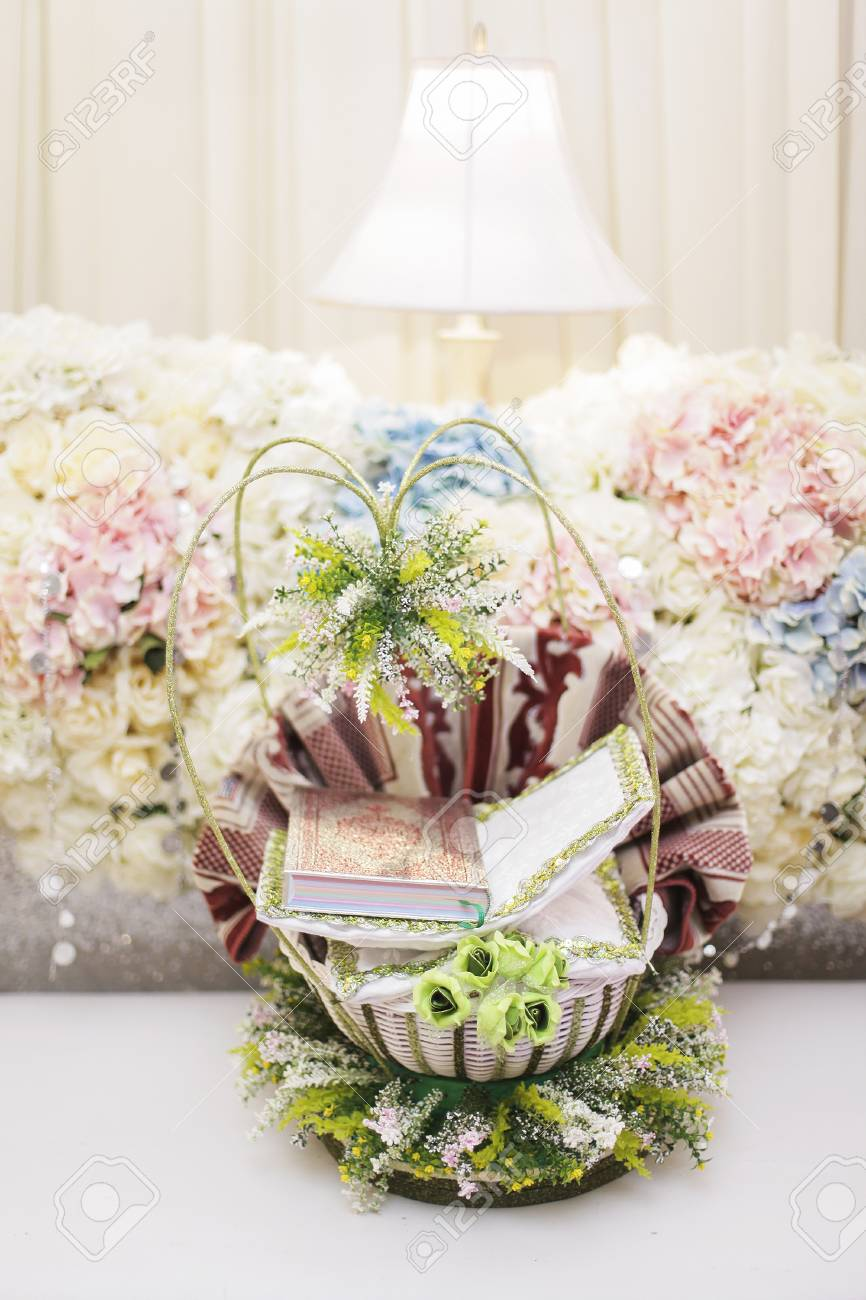 Holy Quran For Wedding Gift With Beautiful Decoration Stock Photo