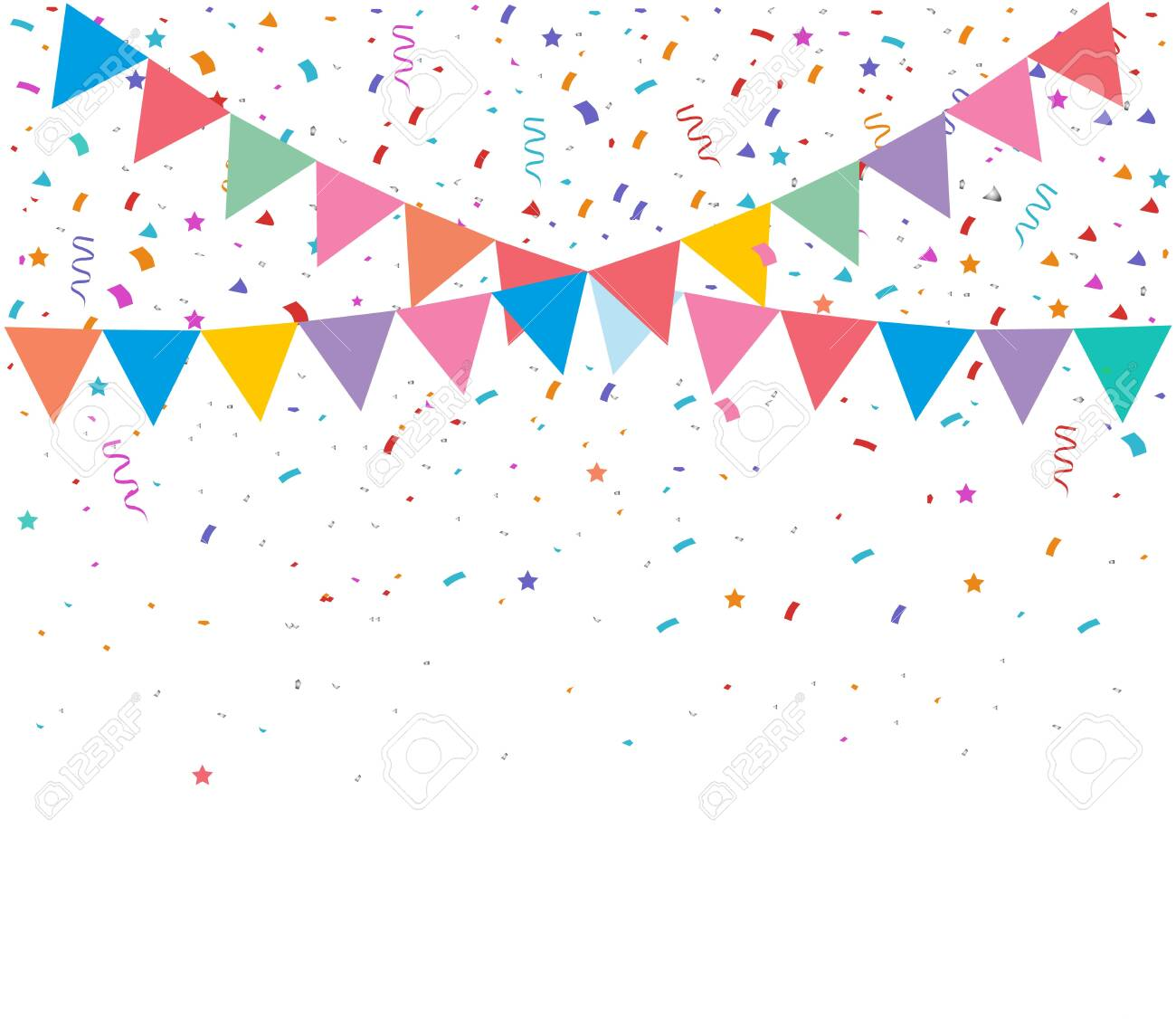 Colorful bright confetti isolated on transparent background. Festive vector illustration - 137122253