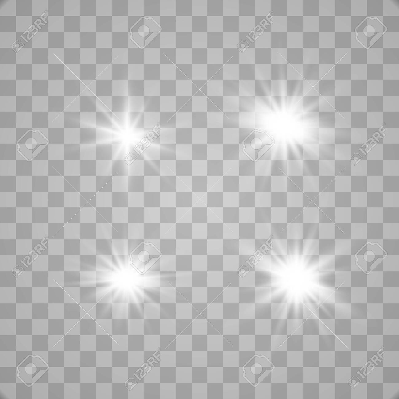 Set of glowing lights effects isolated on transparent background. Glowing lights effect, flare, explosion and stars. Bright Star. - 137129391