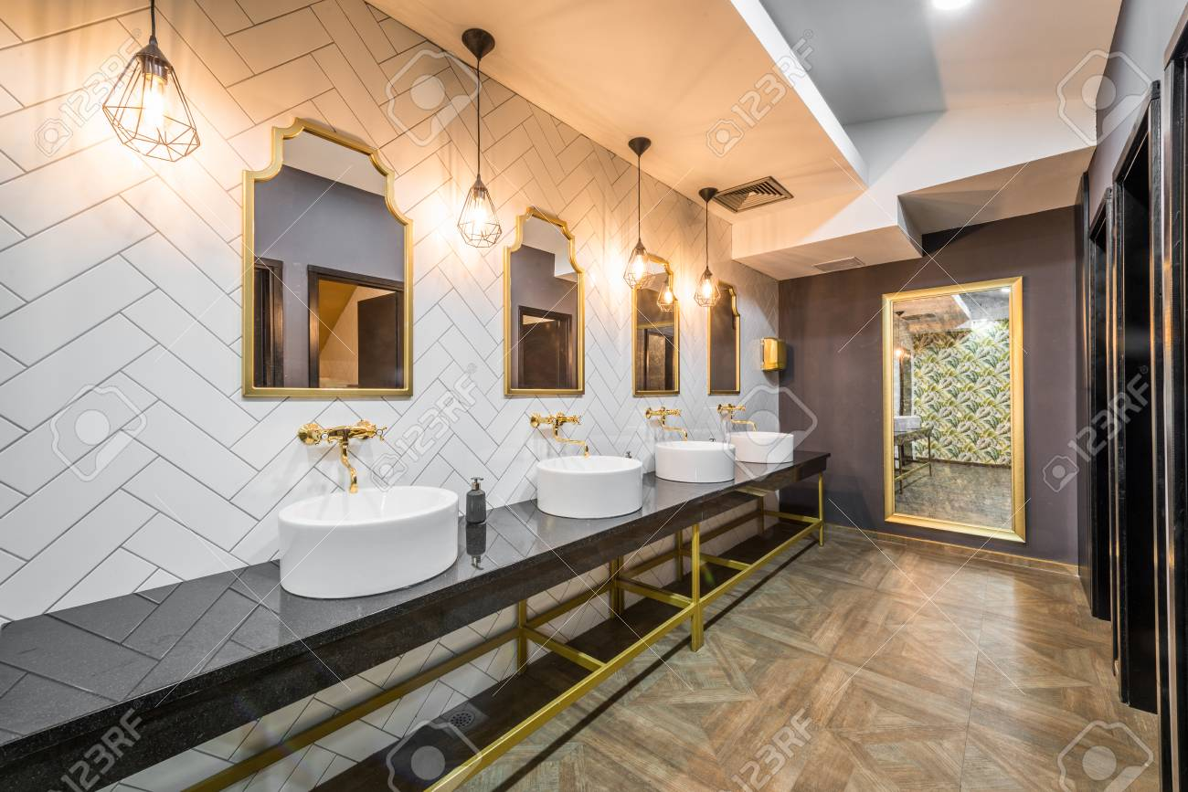 Interior Designe Of Public Toilet In Modern Hotel Or Restaurant Stock Photo Picture And Royalty Free Image Image 86584072