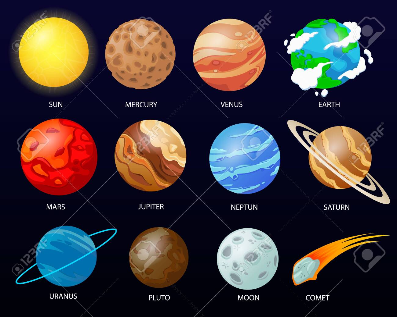 Cartoon solar system planets - 151613932
