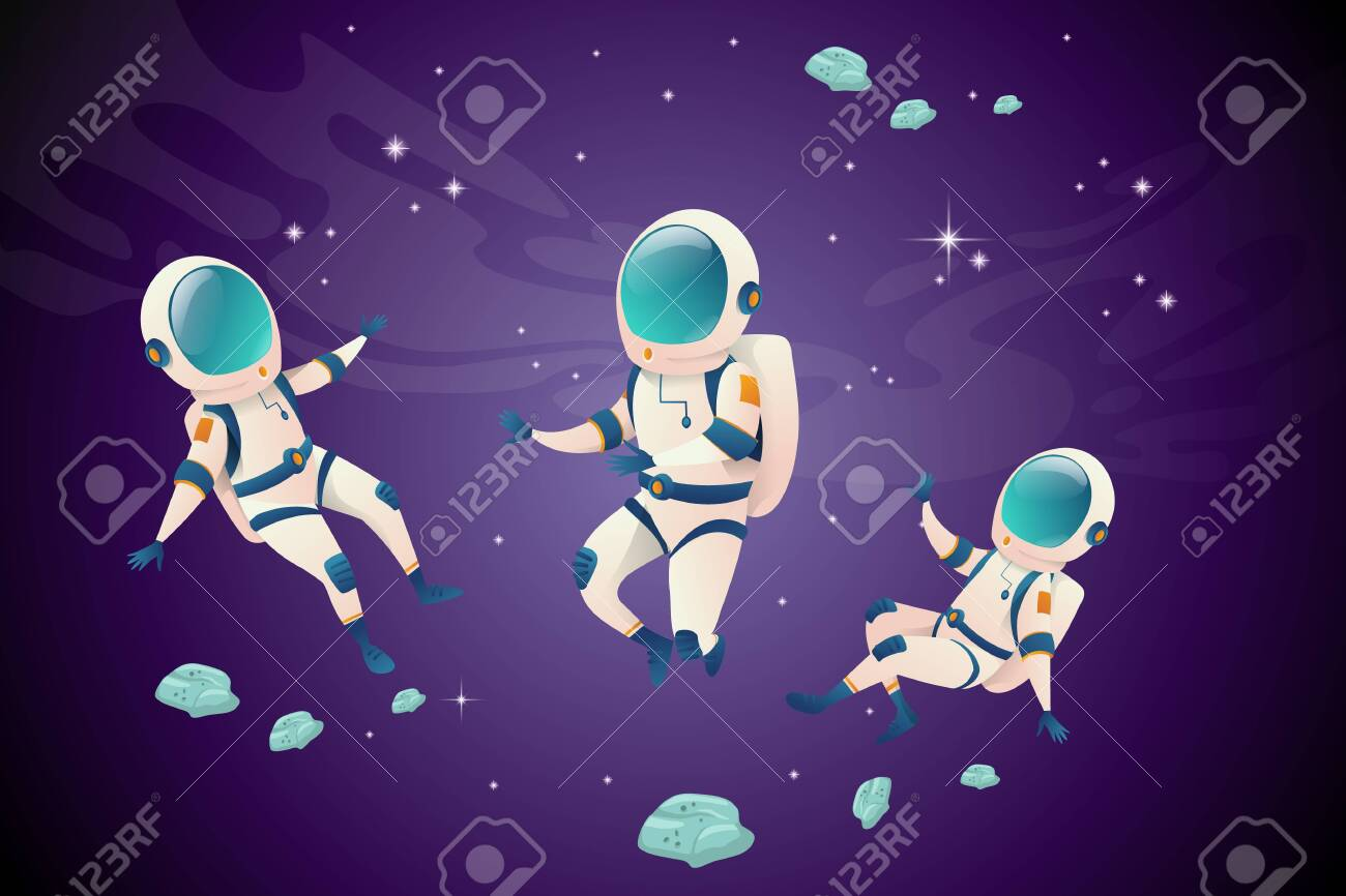 Set of astronauvts in different positions in open space. Astronautc in pace suit floating in open space with your friends. Vector illustration - 153910207