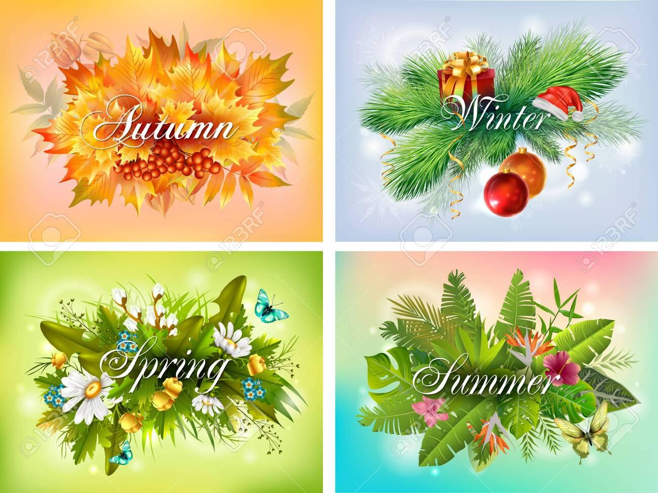 Four seasons typographic banner set - 158545611