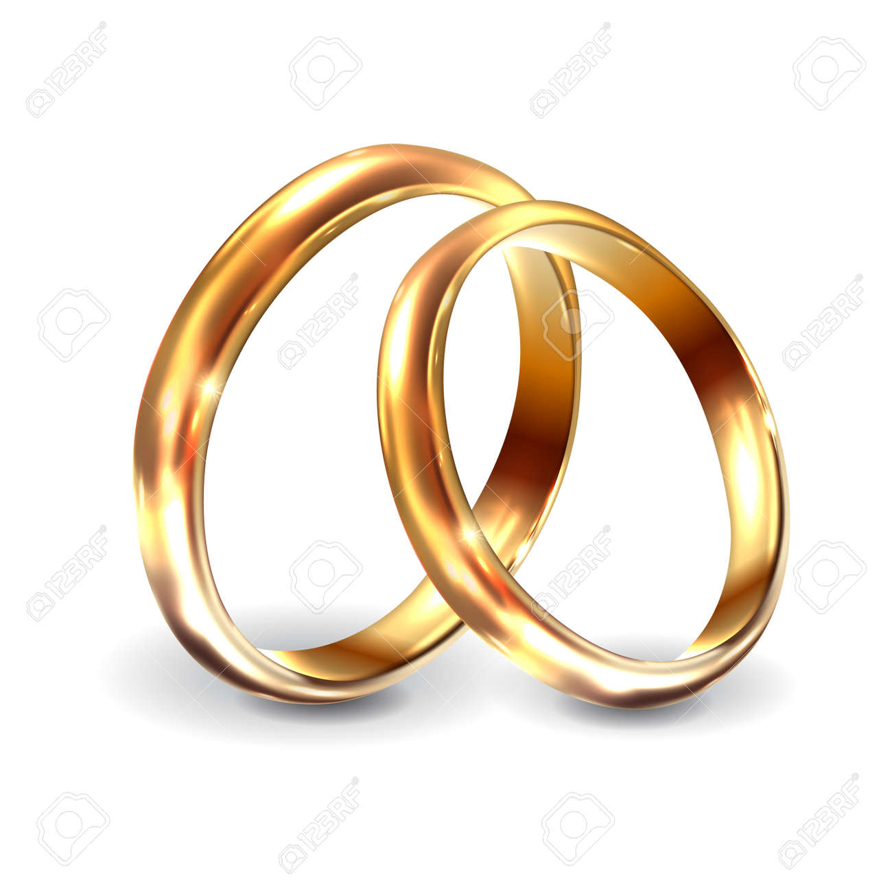 Gold wedding rings 3d realistic engagement illustration. Wedding rings for engagement on white background. Vector illustration - 158509230