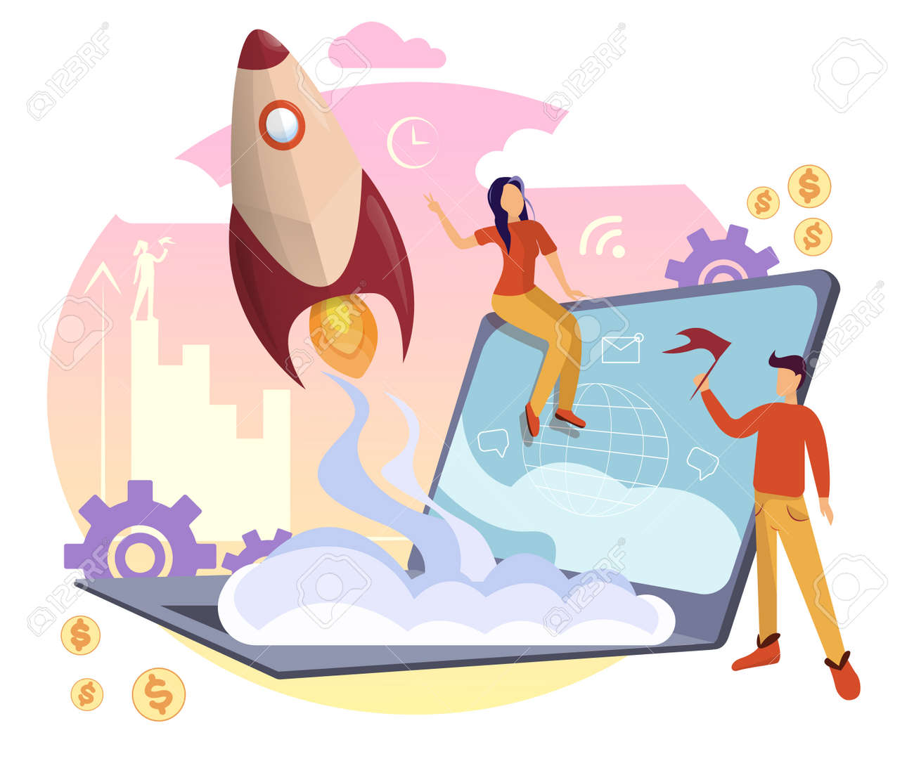 Successful startup concept with people working. Businessman launching a huge light bulb, rocket, launching a business project, web template. Vector illustration - 162232369