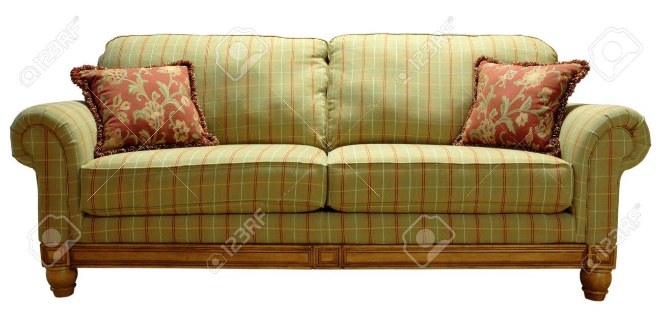 Plaid Sofa green country plaid sofa with pine accent trim stock photo picture