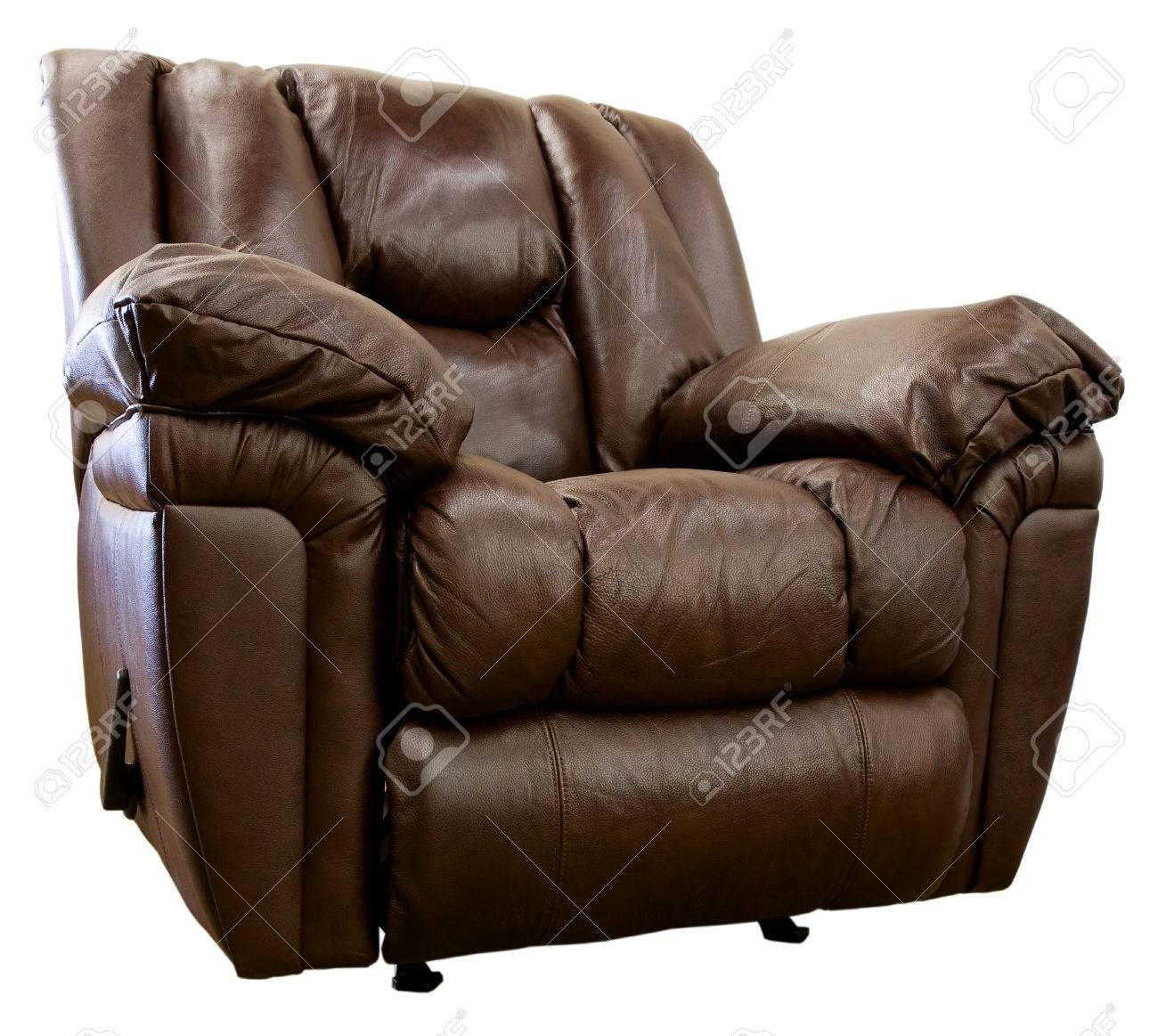 Large Comfortable Overstuffed Brown Leather Rocker Recliner Stock Photo - 1498640  sc 1 st  123RF Stock Photos & Large Comfortable Overstuffed Brown Leather Rocker Recliner Stock ... islam-shia.org