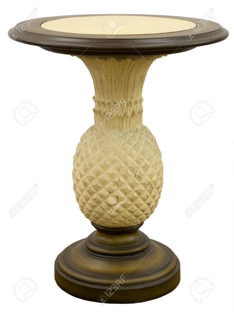 tall round pineapple accent side end table stock photo