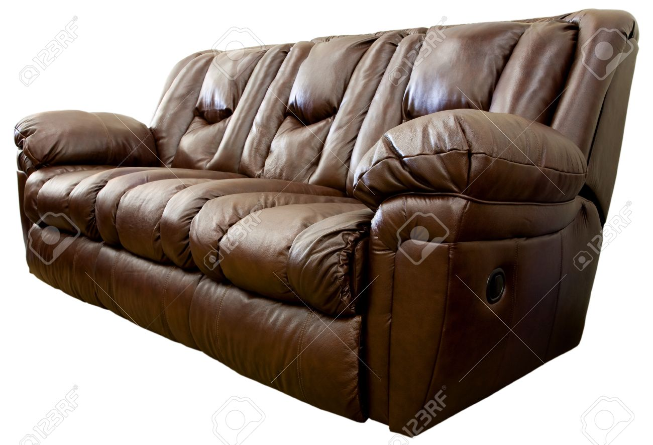 Overstuffed sofa - Large Comfortable Overstuffed Brown Leather Reclining Sofa Stock Photo 1498641