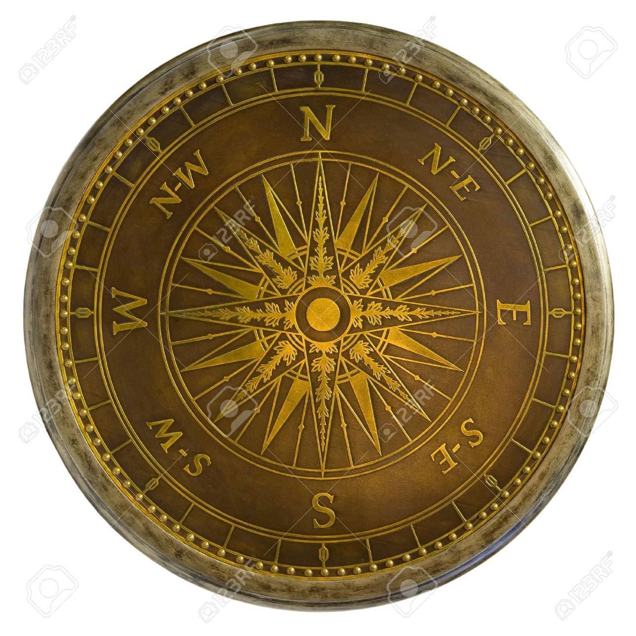 Round Antique Brass Nautical Compass Table Top Stock Photo   1990631