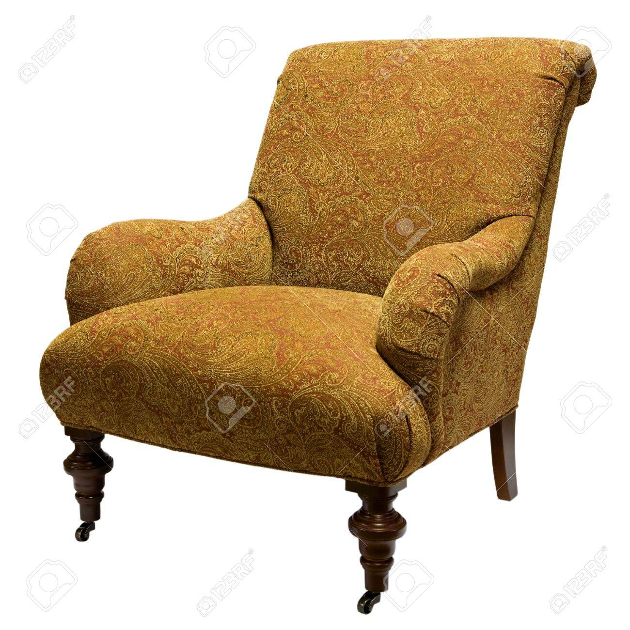 Stock Photo   Traditional Style Accent Chair In Gold Fabric