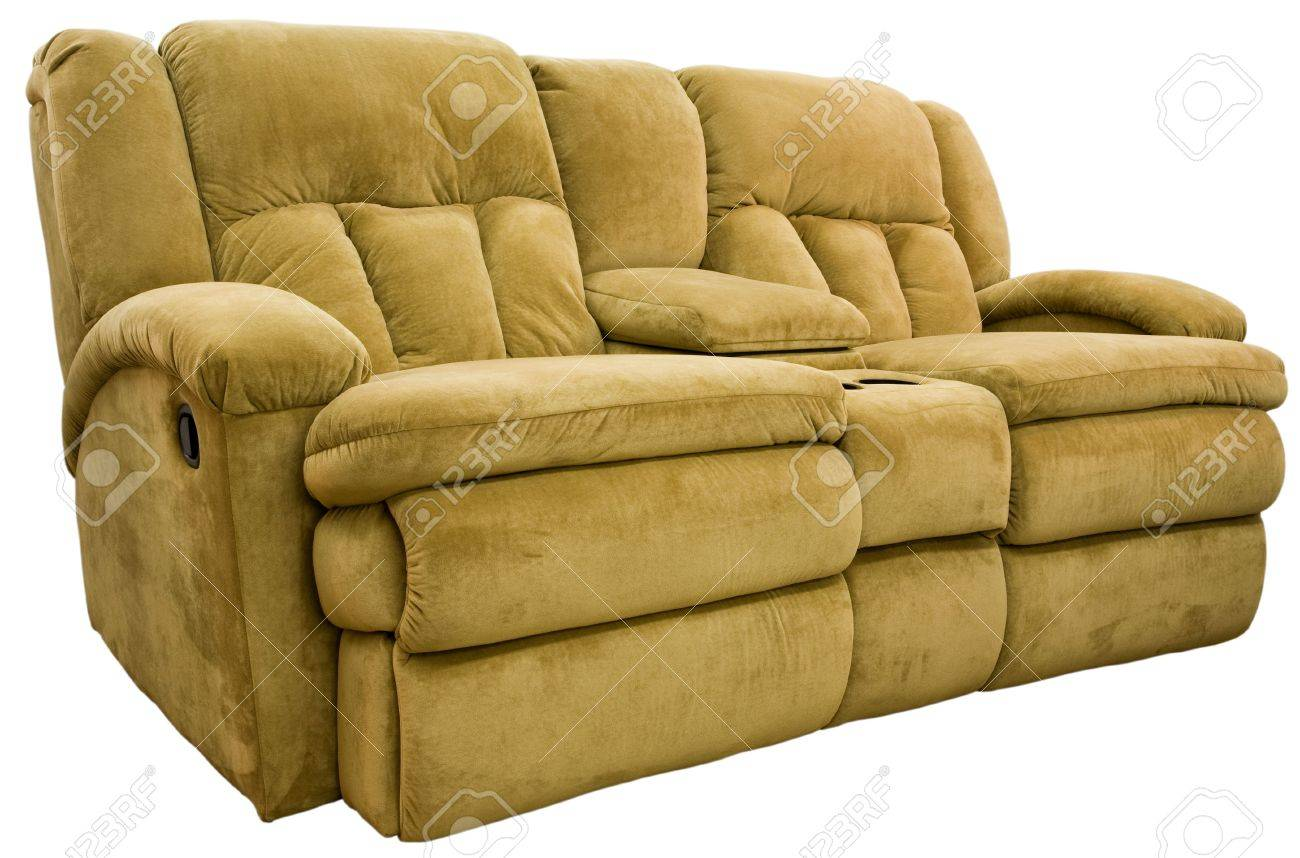 Picture of: Micro Fiber Double Reclining Loveseat With Cup Holders Stock Photo Picture And Royalty Free Image Image 2226936