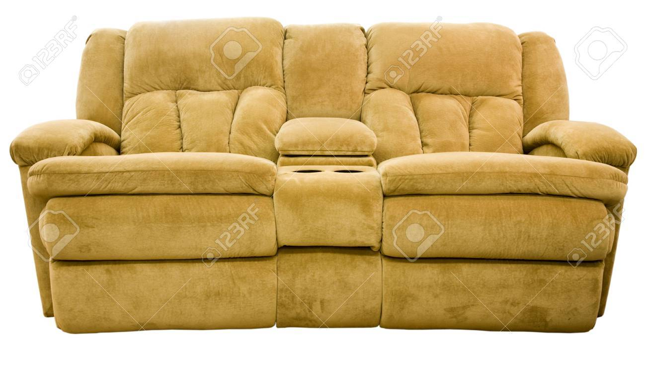 Picture of: Micro Fiber Double Reclining Loveseat With Cup Holders Stock Photo Picture And Royalty Free Image Image 2226935