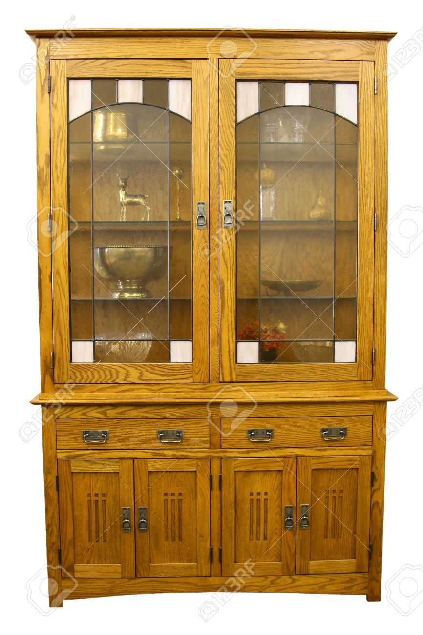 Solid Oak Mission Style China Cabinet In Light Finish Stock Photo   2684350
